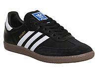 Кроссовки Adidas Samba (черный  с белыми лосками)