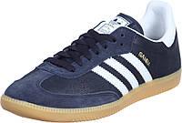 Кроссовки Adidas Samba (темно-синий  с белыми лосками)