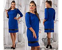 Повседневное платье с вставками эко-кожи размеры 52-56