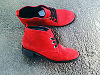 Ботинки женские на низком ходу натуральная красная замша  осень 2016