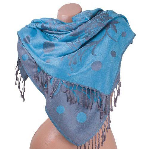 Привлекательный женский двусторонний палантин из пашмины 174 на 71 см ETERNO ES2707-6-14 голубой
