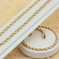 016-0350 - Позолоченный комплект: цепочка (42 см) + браслет (19 см)  плетение Веревка