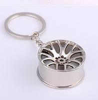 """Дизайнерский брелок, миниатюра - """"Литой диск"""", серебристый цвет"""