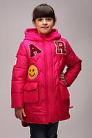 Детские куртки парки зимние «Буквы», малина