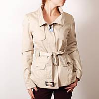 Укороченное бежевое пальто на теплую осень   OW35023