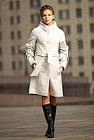 Пальто кашемировое с воротником-стойка и оригинальными рукавами