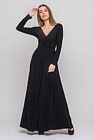 Макси платье с V-образным вырезом и длинным рукавом черное