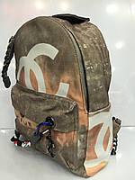 Рюкзак Chanel 1732 коричнево-серый граффити текстильный с мягкой спинкой один отдел размеры 26см х 35см х 15см