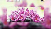 """Схема для вышивки бисером на подрамнике (холст) """"Розовая орхидея на камнях"""""""