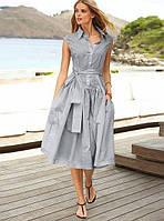 Платье  миди с поясом на пуговицах и воротничком