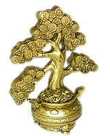 Денежное дерево в горшке с деньгами под бронзу
