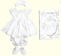 Крестильные наборы для девочек ТМ Ля-Ля, интерлок (артикул 15ТК012)