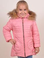 Зимняя куртка пальто для девочки   Стрекоза розовая