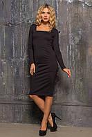 Классическое прямое трикотажное платье черного цвета