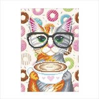 """Схема для вышивки бисером """"Кофейная кошка"""""""