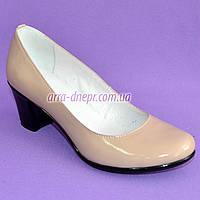 """Бежевые лаковые женские туфли на каблуке. ТМ """"Maestro"""", фото 1"""