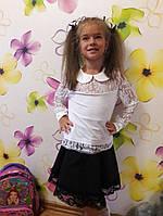 """Нарядная, гипюровая блузка для девочки """"С круглым воротничком"""". ЮБКА В НАЛИЧИИ"""