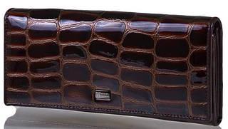 Женский кожаный строгий кошелек WANLIMA (ВАНЛИМА) W50045093-coffee  Коричневый