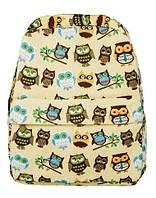 """Прикольный женский рюкзак """"Совята"""" 18L c карманом для планшета URBANSTYLE 121 бежевый/принт"""