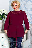 Нежная блуза из шифона с длинным рукавом. Большие размеры.