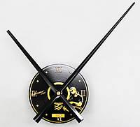 Часовой механизм черный с большими черными стрелками 30см пластинка с желтым рисунком