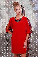 Платье Прямого Силуэта в Комплекте с Украшением Красное р. S M L