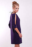 Платье Прямого Силуэта в Комплекте с Украшением Фиолетовое р. S M L