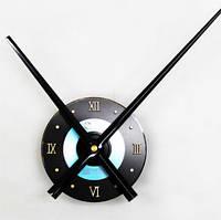 Часовой механизм черный с черными стрелками и голубой вставкой 30см