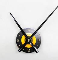 Часовой механизм черный с черными стрелками и желтой вставкой 30см