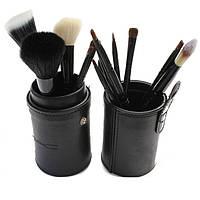 Набор кистей для макияжа MAC 12 штук Черные в тубусе
