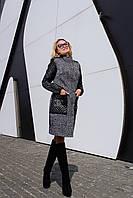 Модное женское пальто из шерсти карманы и рукава из стеганной эко кожи размеры С М Л
