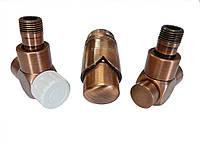 Термостатический комплект для полотенцесушителей и дизайнерских радиаторов Schlosser Exсlusive античная медь