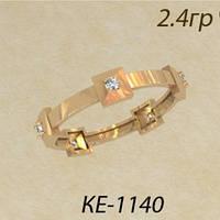 Интересное тонкое золотое колечко с маленькими Фианитами