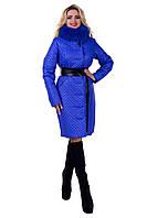 Зимнее женское пальто стеганная плащевка ворот съемный мех натурального песца размеры С М Л