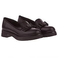 Туфли лоферы женские Juliana (стильные, с элегантным бантом, черные, удобные, практичные)