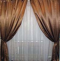 Комплект атласных штор 021ша Цвет коричневый