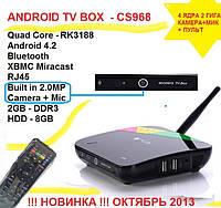 CS968 4ядра 2гб DDR3 LAN USB Camera 2МП + MIC AV-out пульт +НАСТРОЙКИ I-SMART