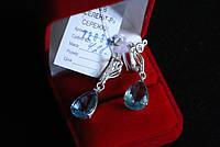 Серебряные серьги висюльки ( капельки) 925 пробы