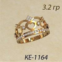 Модное женское золотое кольцо напоминающее корону