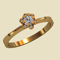 Поразительное золотое венчальное кольцо 585* пробы