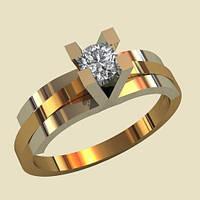Модное комбинированное золотое венчальное кольцо