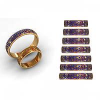 Обручальные кольца с эмалью из красного золота 585*