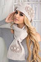 Красивый комплект берет и шарф с цветами в 11ти цветах 5050-10