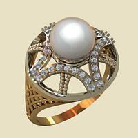 Оригинальное золотое кольцо с Жемчугом