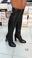 Стильные женские сапоги-ботфорды кожаные черные Lino Mаrano.