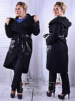 Модное женское лёгкое пальто без подкладки с элементами эко кожи батал с 48 по 62 размер