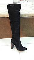 Стильные женские замшевые сапоги-ботфорды  черные  Marsella Stale