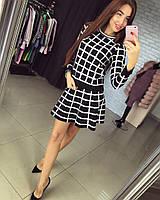 Женский модный теплый костюм: кофта и юбка (2 цвета)