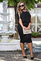 Платье Хьюстон черное со свободным шифоновым верхом французский трикотаж большого размера 48-72 батал