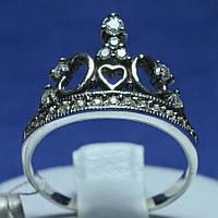 Брендовое кольцо серебро в виде Короны с фианитами 1026